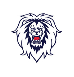 angry lion roaring logo design template vector image