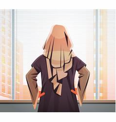 Arab businesswoman looking forward through glass vector