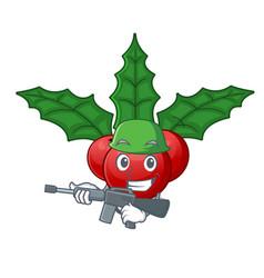 Army christmas holly berry on a cartoon vector