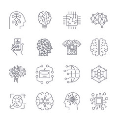artificial intelligence ai icon set vector image