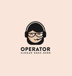assistance logo icon operator logo icon template vector image