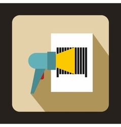 Barcode scanner icon in flat style vector