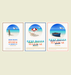 beautiful retro set vintage seaside view vector image
