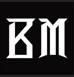 Bm logo monogram with slice shape design template vector
