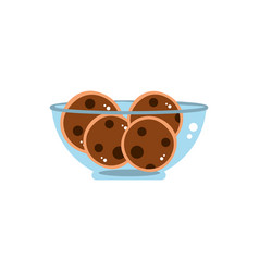 Bowl with chocolate cookies sweet confectionery vector