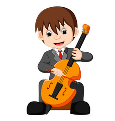 Boy playing cello cartoon vector
