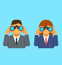 Businessman and businesswoman looking through vector