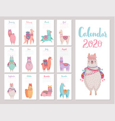 calendar 2020 with cute llamas colorful alpacas vector image