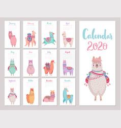 Calendar 2020 with cute llamas colorful alpacas vector