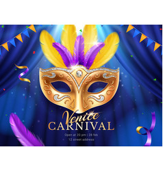 Carnival mask at mardi gras parade banner vector