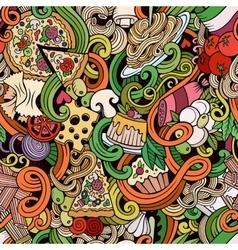 Cartoon doodles of italian cuisine seamless vector