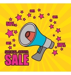 Cartoon megaphone special offer sale pink star vector
