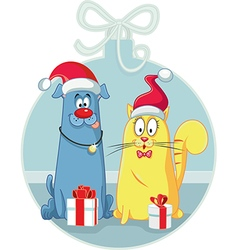 Cat and Dog with Christmas Gifts Cartoon vector