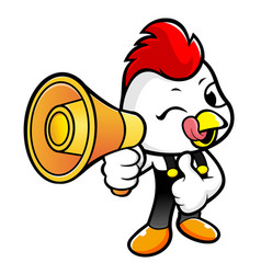 Chicken character the holding a loudspeaker vector