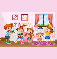 Children playing with their toys at home scene vector