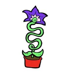 comic cartoon flower vector image