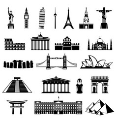 Countries of the world silhouette architecture vector