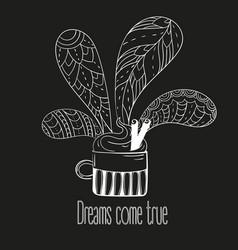 Cup of coffee or tea dreams come true text vector