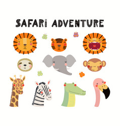 Cute exotic animals vector