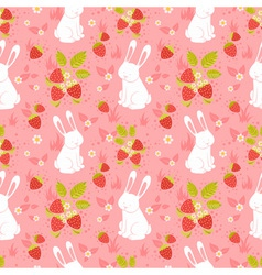 Cute rabbits seamless pattern vector image