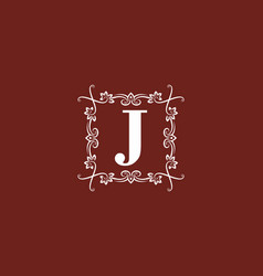 dark red white j initial letter in square classic vector image