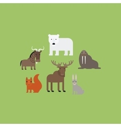 Different animals flat icons set vector