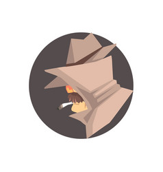 Disguised detective character avatar vector