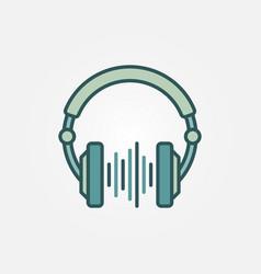 dj headphones with sound wave creative vector image