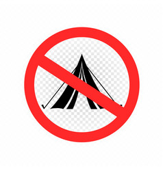 do not set camp tent sign icon vector image