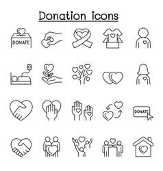 donation icons set in thin line style vector image