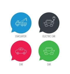 Electric car evacuator and transport icons vector