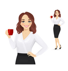 Elegant business woman with coffee cup vector