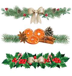 elegant watercolor natural christmas dividers vector image