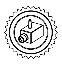 Emblem exterior video camera icon vector