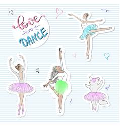 fashion stickers with ballerinascat slogan print vector image