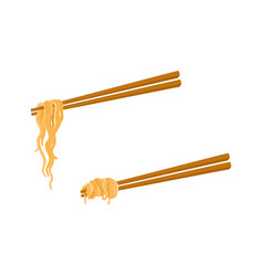 flat asian noodle wok udon on sticks set vector image