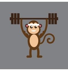 Flat icon on gray background monkey cartoon vector
