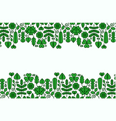flat line green plant leaf icon empty background vector image