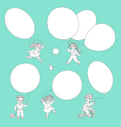 flat monochrome kids with air balloons set vector image