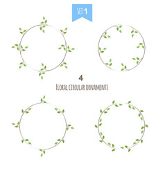floral circular ornaments first set vector image