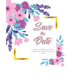 Flowers wedding save date flowers banner vector