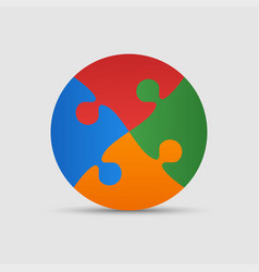 four pieces puzzle circle 4 step puzzles icon vector image