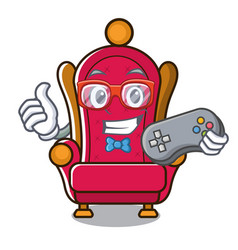 Gamer king throne mascot cartoon vector