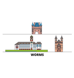 Germany worms flat landmarks vector