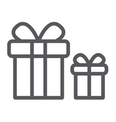 gift boxes line icon package and surprise vector image