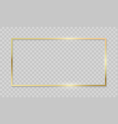 Gold frame on transparent background realistic vector