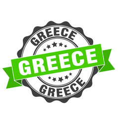 Greece round ribbon seal vector