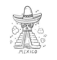 hand drawn mexico style print design vector image