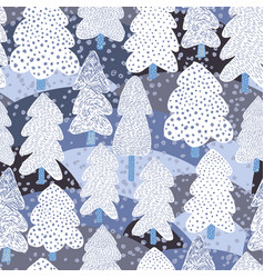 Hand drawn winter pine tree seamless pattern vector