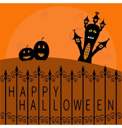 Haunted house pumpkins and big moon Wrought iron vector